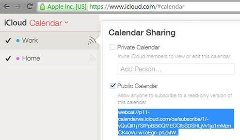 icloud partage calendrier